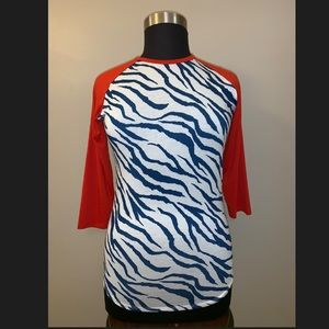 Lularoe Randy Shirt Red White Blue Zebra 🦓 Stripe
